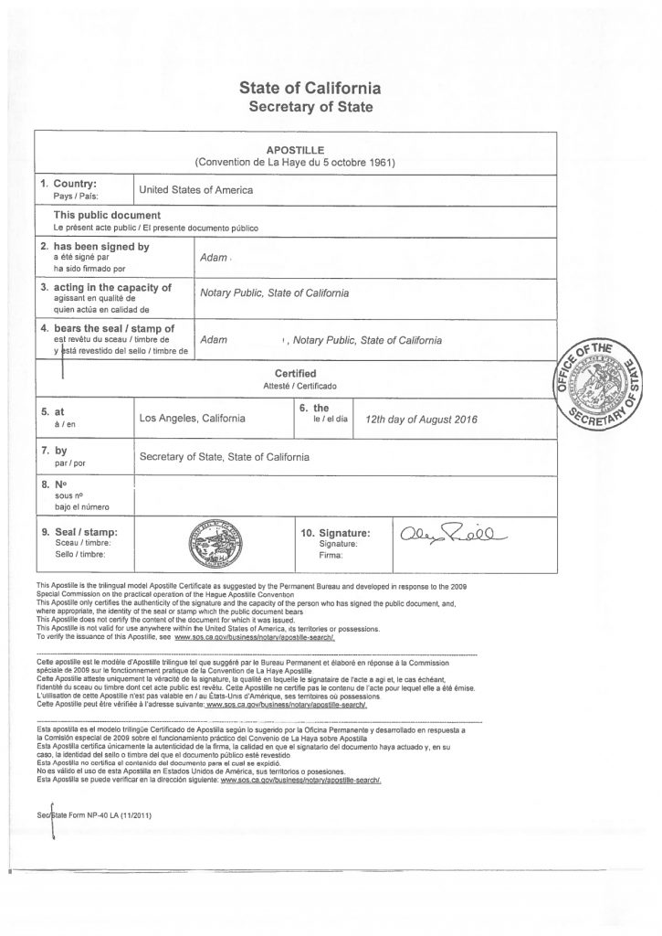 Hague Apostille document